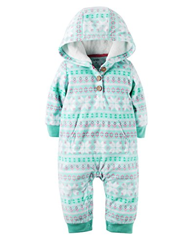 Carter's Baby Girls' 1 Piece Fleece Hood Jumpsuit (24m, Flakes) 1 Piece Hood