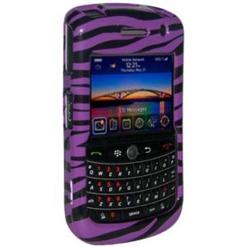 Amzer Zebra Print Snap-On Crystal Hard Case with Belt Clip for BlackBerry Tour/Niagra 9630 - Purple ()