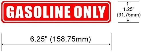 Back Self Adhesive Vinyl Outdoor//Indoor 3 Pack 6.25 X 1.25 GASOLINE ONLY Sign Label Sticker Decal For Oil Gas Mixture Can Car Vehicle Tank