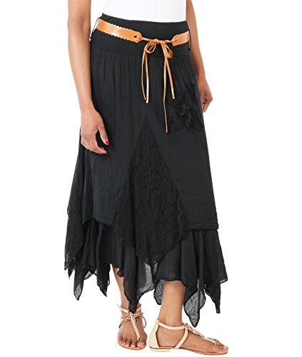 Krisp 7844-BLK-10 Maxi Skirt, Black, US 6