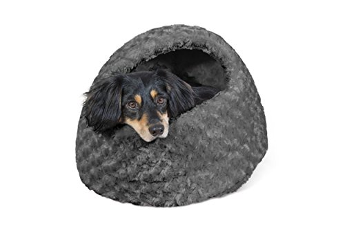 FurHaven Pet Hood Bed | Ultra Plush Hood Pet Bed for Dogs & Cats, Gray, One-Size