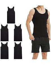 LK LEKUNI Onderhemd voor heren, tanktop, pak van 5 fijne ribstof, katoen, alle maten en kleuren