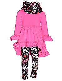 Unique Baby Girls Valentine's Day Outfit Ruffle Top Legging Set