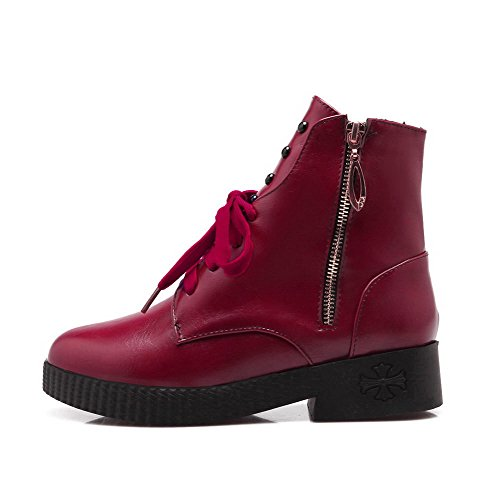 Allhqfashion Mujeres Soft Material Redondo Puntera Cerrada Sólida Low-top Low-heels Botas Red