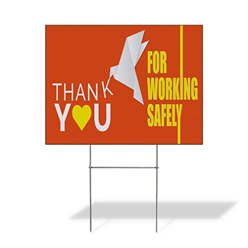 Plastic Weatherproof Yard Sign Thank You for Working Safely Business Bird Made of Paper Awareness White Thank You for Sale Sign Multiple Quantities Available 18inx12in One Side Print One -