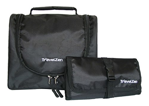 TravelZen Flexible Travel Toiletries Kit, A 2 in 1 Hanging Toiletry Bag with Multi Use Wallet. Organize any bathroom for make up or shaving (Black)