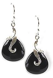 Jody Coyote Earrings DU-0311-08 Duet Collection silver black