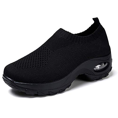 HKR Womens Walking Tennis Shoes Slip On Light Weight Mesh Platform Nurse Working Shoes Air Cushion Sneakers All Black 7(ZJW1868quanhei38) (Shoes Platform Nurse)