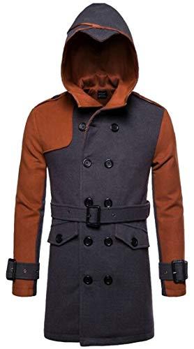 2 Block Wool TTYLLMAO Color Jacket Hoodie Breasted Men's Double Trench Coat Blend Pea qxxSZ7