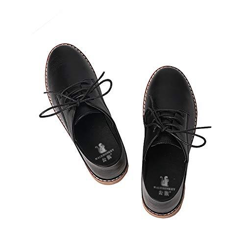 Low Yxx Zapatos Y Redonda Con De Mujer Mary Punta Cordones 3 Oficina Para zapatos HxpqPS