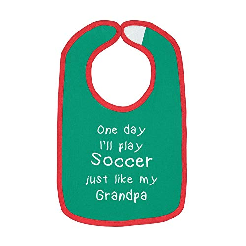 One Day I'll Play Soccer Just Like My Grandpa - Contrast Color Cotton Baby Bib (Kelly/Red)
