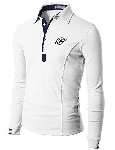 Doublju Mens Jersey Polo with Contrast Placket WHITE (US-M)