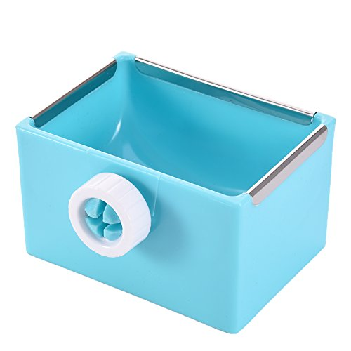 Yunt Hamster Dish Small Pet Food Bowl Plastic Food Water Double Use Feeder for Hamster Chinchilla Rabbit Guinea Pig Blue