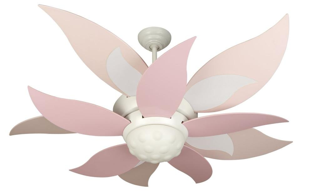 Craftmade BL52W, Bloom White Kids 52'' Ceiling Fan w/ Light, Remote Control & BBL52-PNK Blades