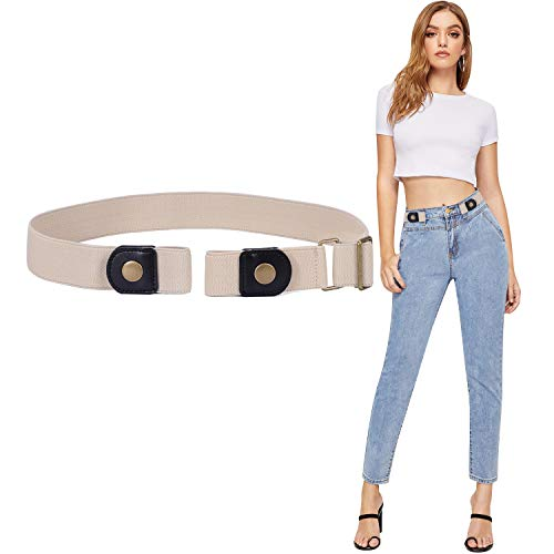 No Buckle Womens Stretch Belts for Jeans, SANSTHS Invisible Elastic Belt Buckle-free No Bulge, Beige