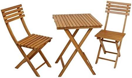 Vamundo - Juego de Mesa y 2 sillas para balcón (Madera de Acacia ...