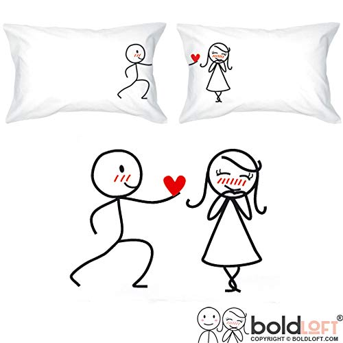BoldLoft My Heart Belongs to You Couple Pillowcases-Romantic Gifts for Couples, for Him or Her, Couples Gifts, Girlfriend Gift, Wife Gift, Dating, Love Gifts, Just Because (The Best Way To Propose To Your Girlfriend)