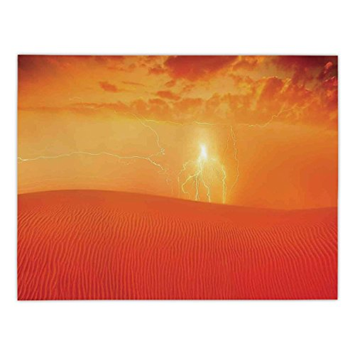 Rectangular Satin Tablecloth,Nature,Hot Arabian Desert Landscape Dramatic Sunset in Sand Dune Wilderness Nature Theme,Red Orange,Dining Room Kitchen Table Cloth Cover