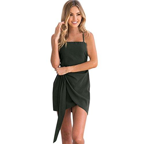 LuckyGirls ❤️ Mujer Sexy Vestido de Fiesta Sin Manga Verano Tirantes Irregular Casual Vestido de Noche Personalidad Bowknot Playa Falda Verde Militar