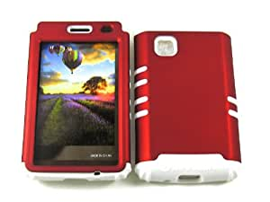 LG 840G CASE RED WH-A008-A HEAVY DUTY HIGH IMPACT HYBRID COVER WHITE SILICONE SKIN