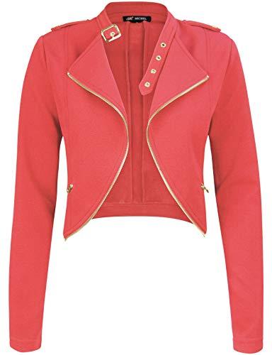 Red Wool Blazer Jacket - Michel Womens Fleece Jacket Classic Crop Rider Zip UP Jacket Medium