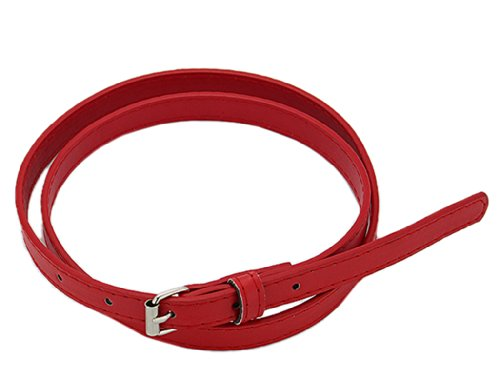 Red Skinny Belt (BONAMART ® Women Ladies PU Leather Skinny Slim Belt with Metal Buckle 100cm)