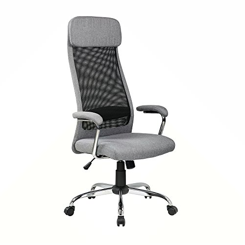 Eurostile High-Back Executive Mesh Office Chair Adjustable Ergonomic Fabric Chair Swivel Desk Chair w/Headrest (8206KD Grey)