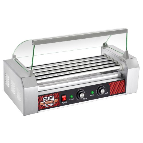 Great Northern Commercial Quality 12 Hot Dog 5 Roller Grilling Machine W/ Cover 1000 Watts
