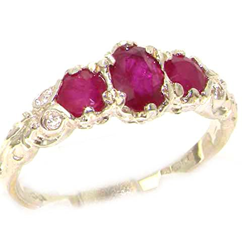 LetsBuyGold 14k White Gold Natural Ruby Vintage Anniversary Ring - Size 8.5