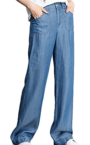 Women's Light Washed Harem Loose Ripped Jeans (Blue) - 6