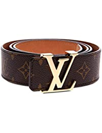 Brown-Gold fashion leather metal buckle belt (Brown gold,...