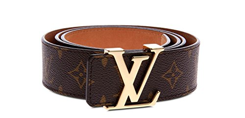 Brown-Gold fashion leather metal buckle belt (Brown gold, (30-33)105cm) by Sheng Electric Technology Co., Ltd