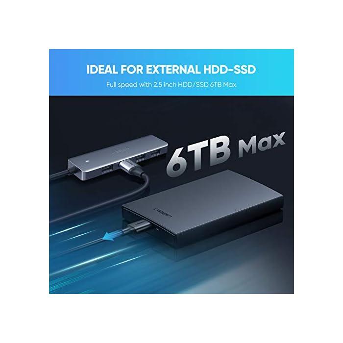 41zOumP6%2ByL Haz clic aquí para comprobar si este producto es compatible con tu modelo ☎USB-C HUB CON 4 PUERTOS USB 3.0: este HUB USB tipo C agrega 4 puertos USB 3.0 adicionales a su dispositivo USB C, así que puede conectar cualquier USB periférico como disco duro, usb memoria, teclado, ratón, pendrive, ect ☎SÚPER VELOCIDAD 5 Gbps: con la velocidad de transferencia de datos de hasta 5 Gbps, este USB-C dock transmite sus datos 10 veces más rápido que un USB 2.0. Le permite transferir una película HD en segundos. Además, es retrocompatible con dispositivos USB 2.0 y 1.x. (NOTA: Le recomendamos que no utilice este HUB para cargar su dispositivo)