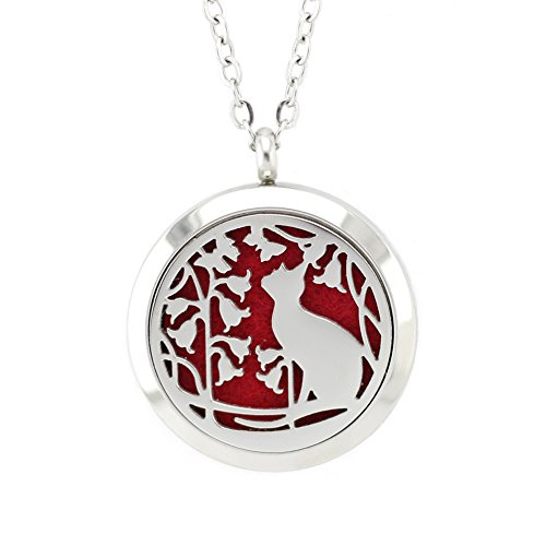FANSING Jewelry Cat Jewelry Stainless Steel Aromatherapy Essential Oil Diffuser Necklace Locket Pendant with Refill Pads