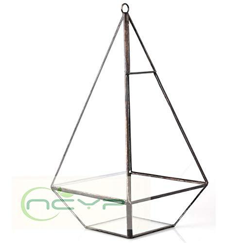 Geometric Planter - Desktop Pyramid Geometric Glass Terrarium Box Succulent Moss Planter Hanging Plants Bonsai Flower Pots Flowerpot Vertical Garden - Hanging Pyramid Top