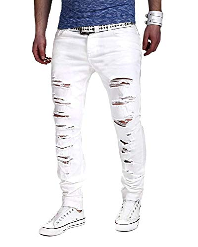 En Delgado Vaqueros Blanco Minetom Lagrimeo El Agujeros Verano Estilo Rectos Straight Hombres Pantalones Denim Deportes PUwFREq