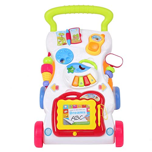 Safe Early Learning Science Educational Gift Push & Pull Toy, Sit-to-Stand Baby Toys Walker Trolley, for Kids Toddler