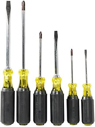 KLEIN TOOLS Screwdriver Set, Cushion Grip, 6-Piece 85074, Black