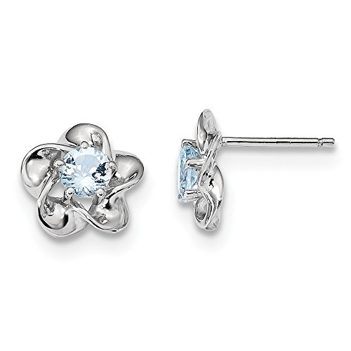 925 Sterling Silver Floral Blue Aquamarine Post Stud Earrings Set Birthstone March Flower Fine Jewelry Gifts For Women For Her ()