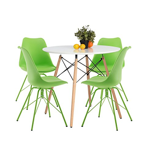 YUIKY Modern Dining Chairs Set of 4 with PU Leather Upholstered Side Chairs (All Green) For Sale