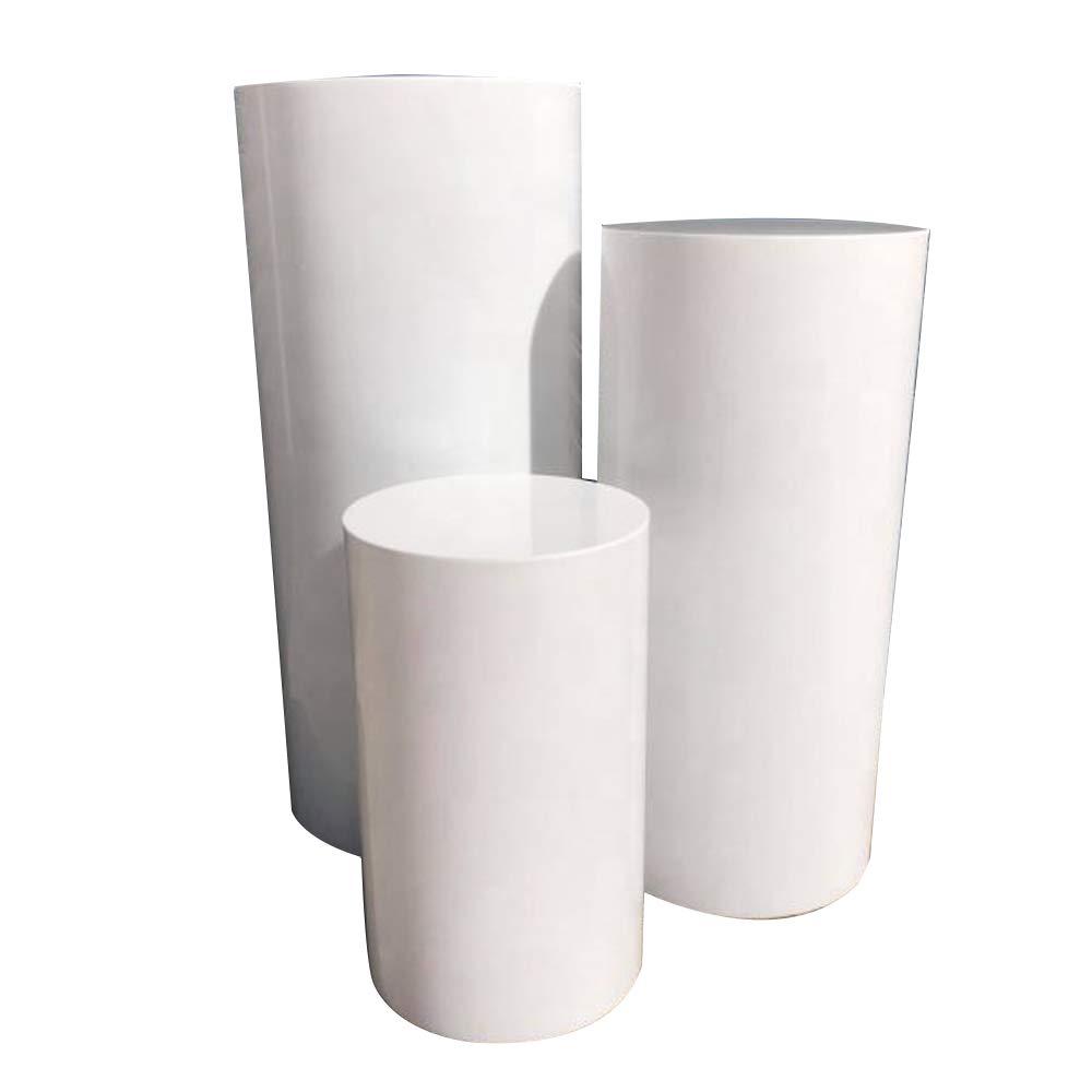LUGUNU Acrylic Display Cylinder Pedestal Art Decor Stand Round Pillar Plinth for Party & Holiday Wedding DIY Decorations Support Customize (White, D30×H70CM)