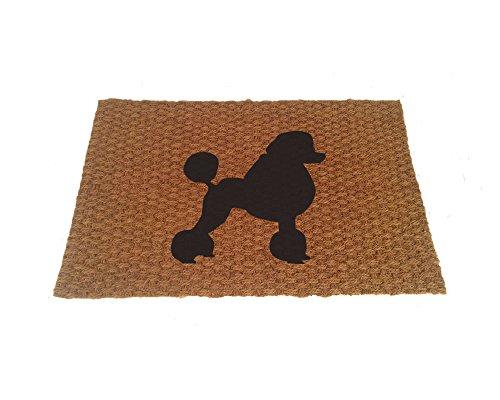 Poodle Silhouette Doormat (Indoor or Outdoor Use) (Black) (Poodle Door Mat)