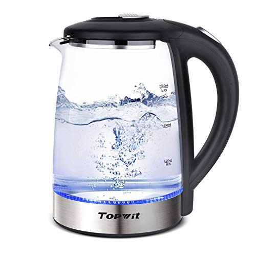 Topwit Electric Kettle Glass Water Heater Boiler, 2L Water Warmer Cordless with LED Light, Stainless Steel Lid Bottom, Tea Kettle with Fast Heating, Auto Shut-Off Boil Dry Protection, Upgraded