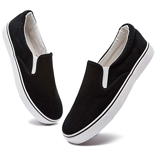 FRACORA Mens Canvas Shoes Slip on Sneakers Low Top Fashion Casual Loafers (Runs a Size Bigger Than Normal Size)