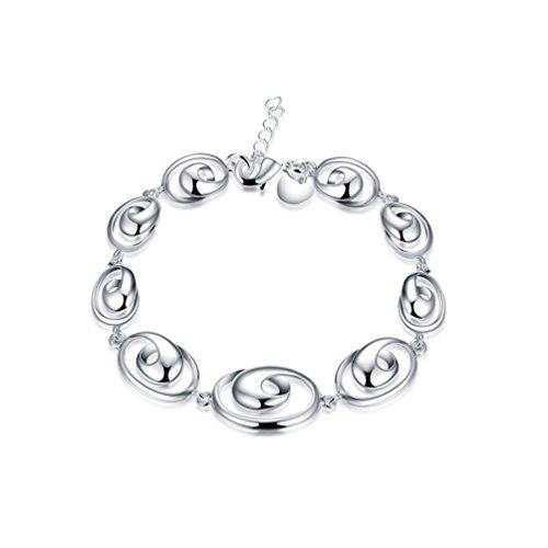 Bracelet Silver Spiral Sterling (FENDINA Women's Jewelry 925 Sterling Silver Plated Spiral Shaped Adjustable Secure Clasp Friendship Bracelets)