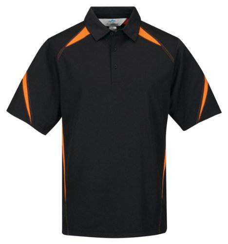 Tri-Mountain men's Performance Polyester Birdseye Mesh Polo Shirt Black/orange ()