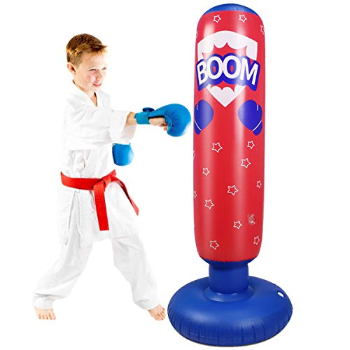 Haokaini Fitness Punching Bag for Kids Inflatable Kids Punching Bag Children Free Standing Bounce-Back Boxing Bag for…