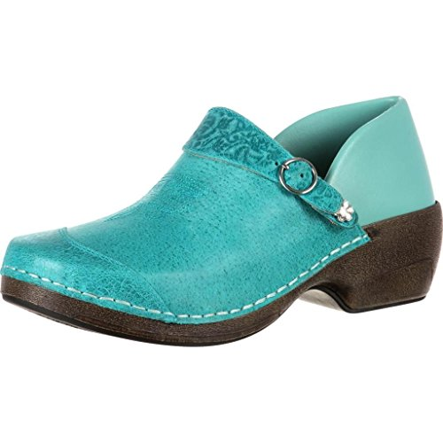 4EurSole Work Shoe Women Western Embellished Clog Teal RKYH033