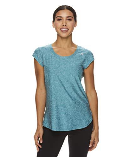 Reebok Women's Legend Running & Gym T-Shirt - Performance Short Sleeve Workout Clothes for Women - Harbor Blue Heather Legend Green, Large (Reebok Women Compression Shirt)