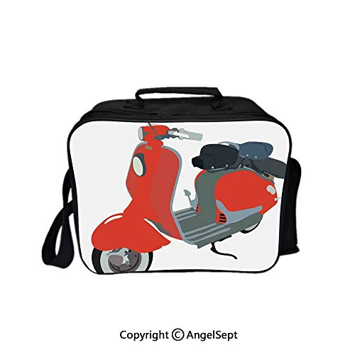 Reusable Lunch Bag With Adjustable Shoulder Strap,Motor Scooter Doodle in Nice Sixties Style Driving Motorcycle Urban Cartoon Clipart Decorative 8.3inch,Office Work Picnic Hiking Beach Lunch -